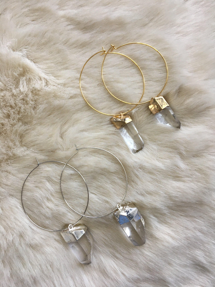 Gold or silver plated quartz points hoop earrings - Vêtue Boutique Lithia FL USA-Women's boutique for great quality unique, fun, trendy and stylish clothing and accessories at amazing prices-Let us dress you!