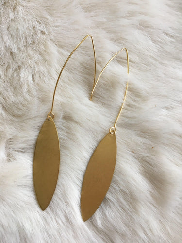 Gold plated lightweight brass oval dangling earrings - Vêtue Boutique Lithia FL USA-Women's boutique for great quality unique, fun, trendy and stylish clothing and accessories at amazing prices- Let us dress you!