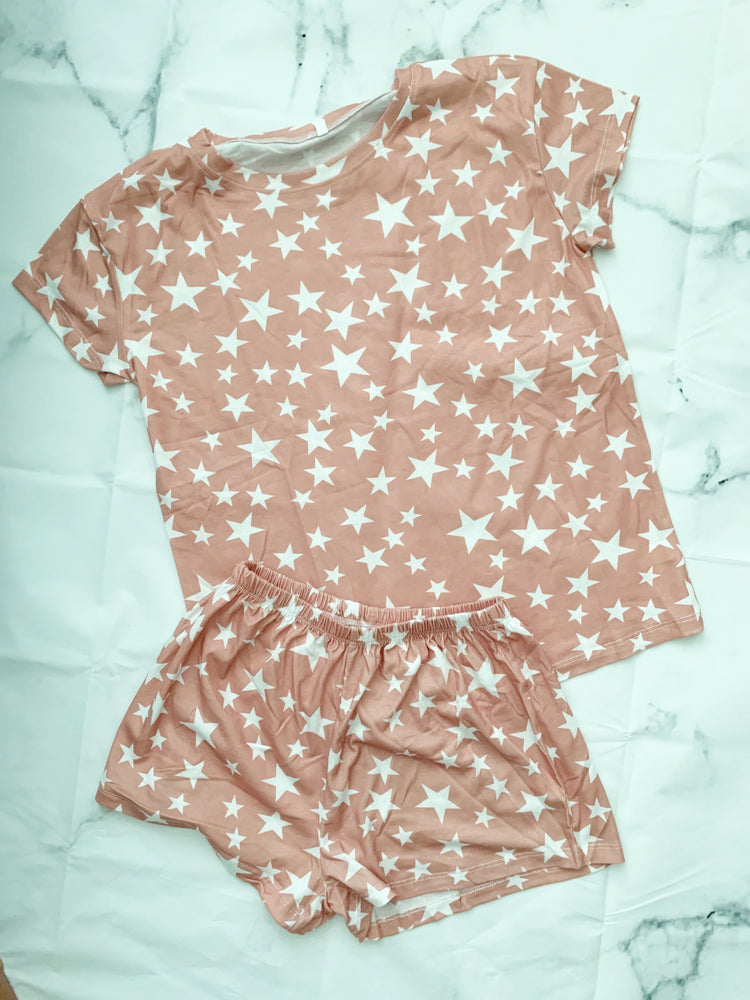 star print lounge shorts set available online at vetue boutique