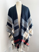 plaid ruana poncho available in 3 colors