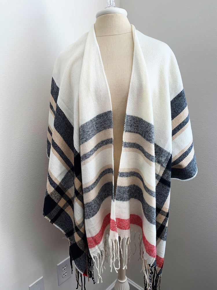 ivory plaid ruana poncho vetue Boutique tampa saint Petersburg florida online clothing accessories casual stylish contemporary fashion store