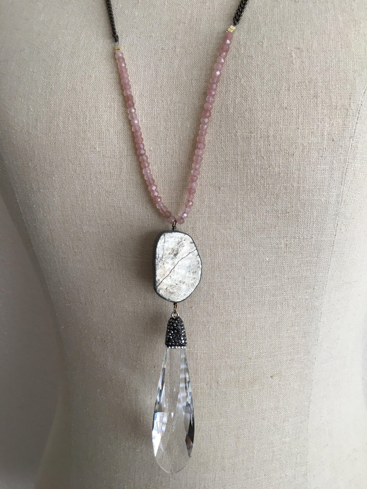 Long necklace with antique chain, stone beads, and crystal pendant available in 4 colors