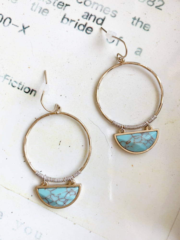vetue-Boutique-tampa-st-petersburg-florida-online-clothing-accessories-trendy-stylish-contemporary-fashion-forward-hoop-earrings-faux-turquoise-brushed-gold-finish