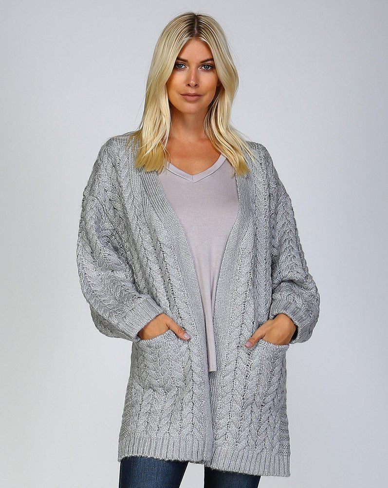 cable knit open cardigan with pockets vetue online boutique florida women clothing accessories