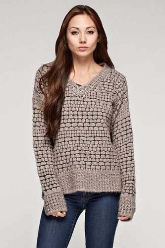 REESE long sleeve V neck tuck sweater with ribbed hem