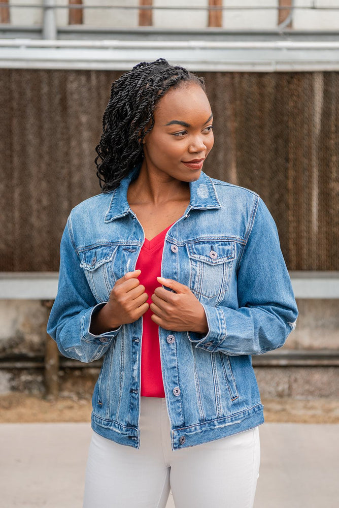 light wash classic denim jacket available online at vetue boutique