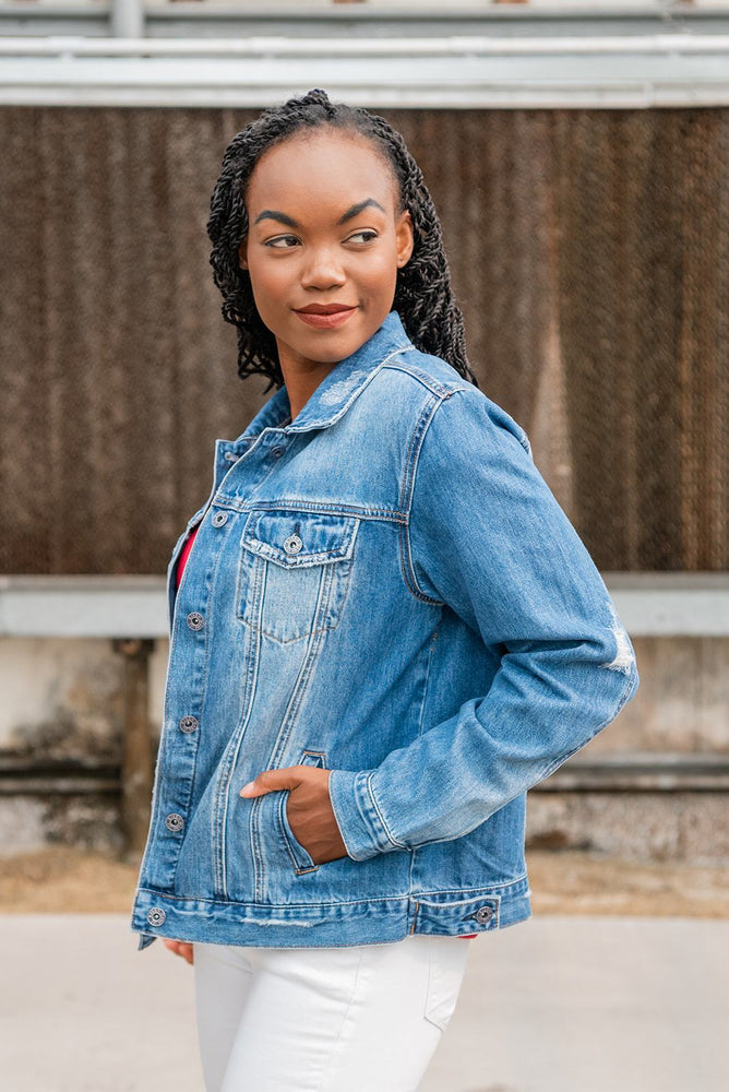 side pocket view classic denim jacket available online at vetue boutique