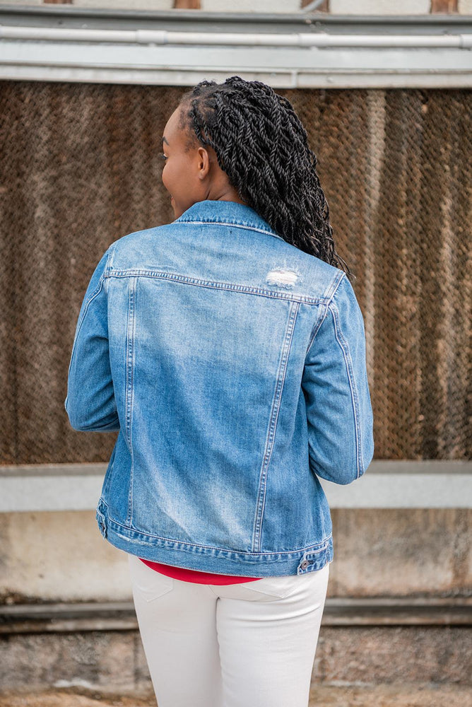 back view classic denim jacket available online at vetue boutique