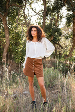 camel corduroy mini skirt available online at vetue boutique