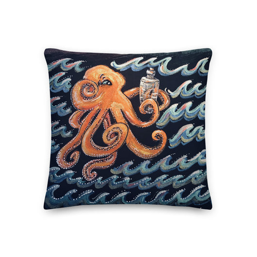 Curious Octopus - square throw pillow