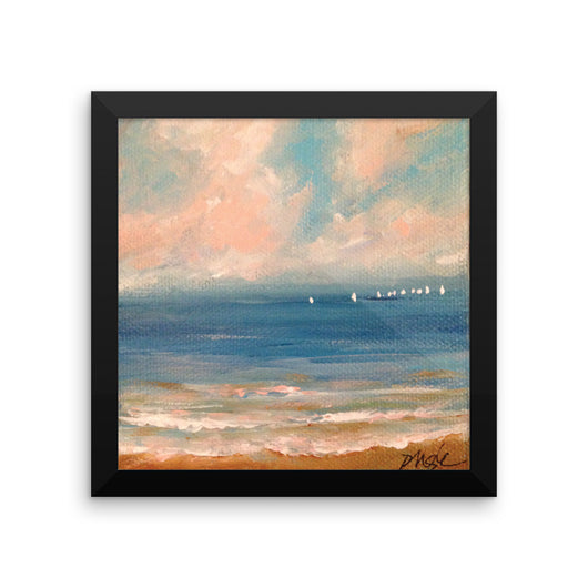 Sunset Sail, framed