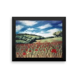 Rolling Hills and Poppies, Italy, framed