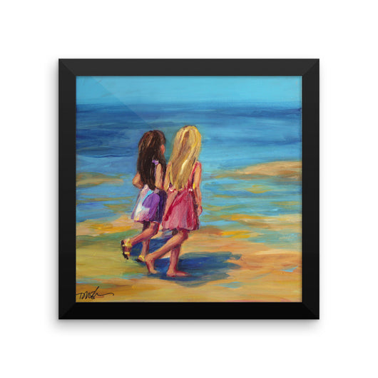 Sisters at the Beach, framed