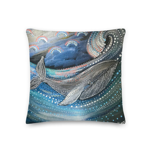 Playful Whale - square throw pillow