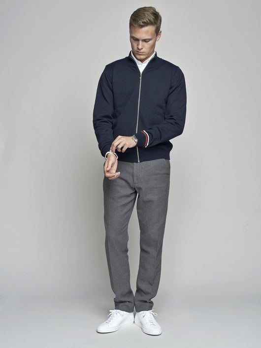 Cardigan Zip Knit, Navy