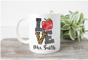Love Teacher Theme Leopard Print Mug (Name)