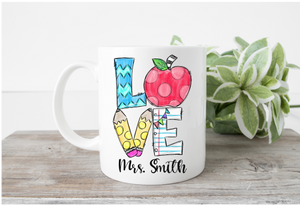 Love Teacher Theme Mug (Name)