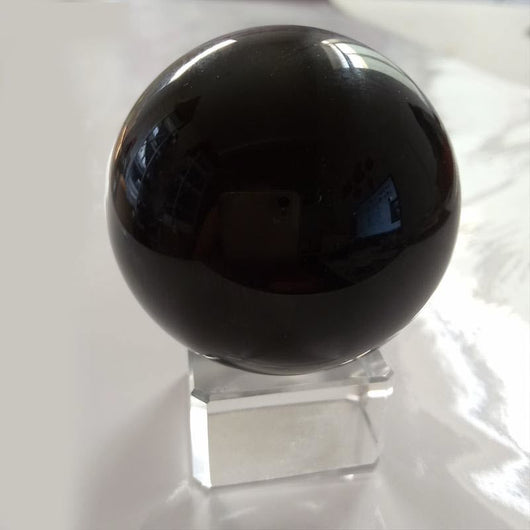 50MM Stand Natural Black Obsidian Sphere Large Crystal Ball Healing Stone