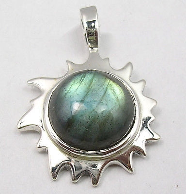 Labradorite silver sun pendant chain available healinstones mozeypictures Image collections