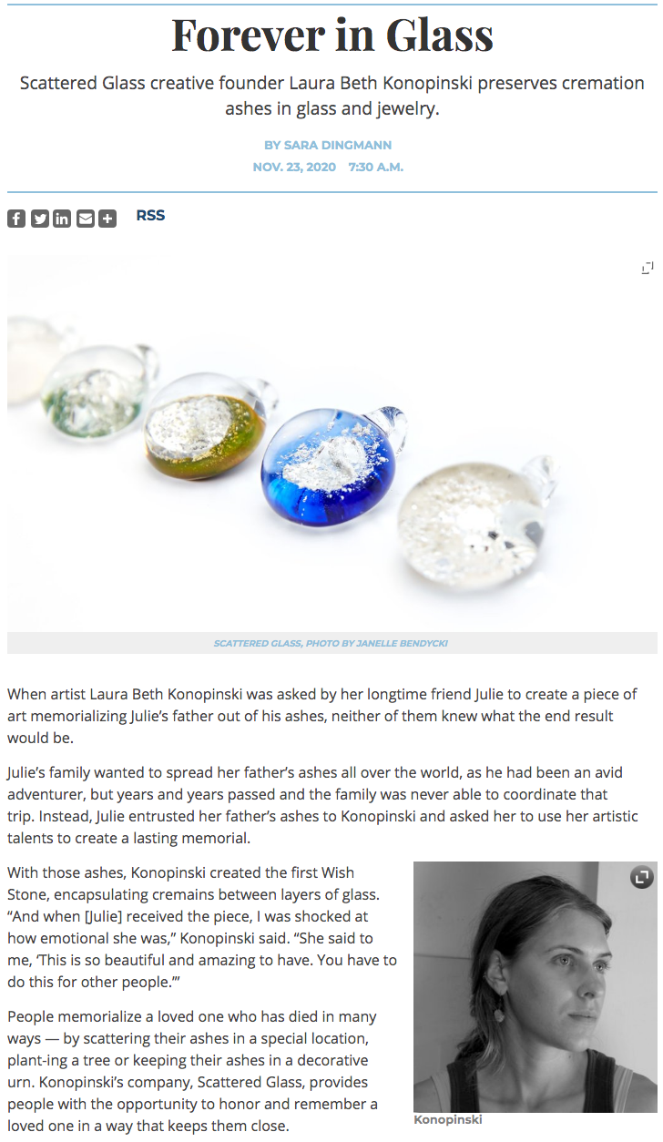Scattered Glass Cremation Memorial Art in Alexandria Living Magazine