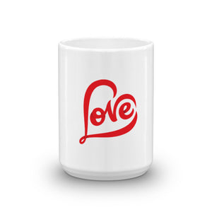 """LOVE""  WHITE GLOSSY CERAMIC MUG MADE IN THE U.S.A."