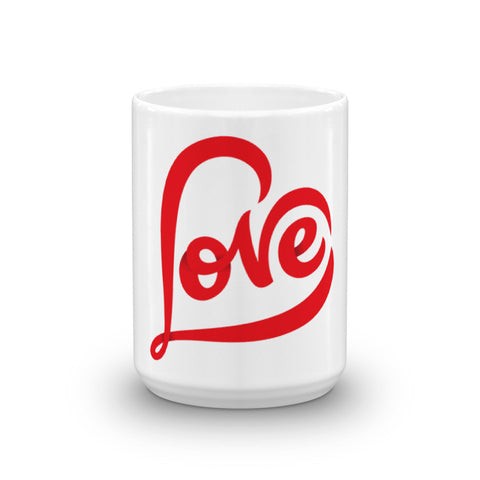 """LOVE"" WHITE GLOSSY CERAMIC MUG MADE IN THE USA"
