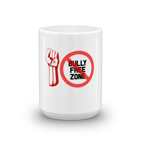 """BULLY FREE ZONE"" WHITE GLOSSY CERAMIC MUG MADE IN THE USA"