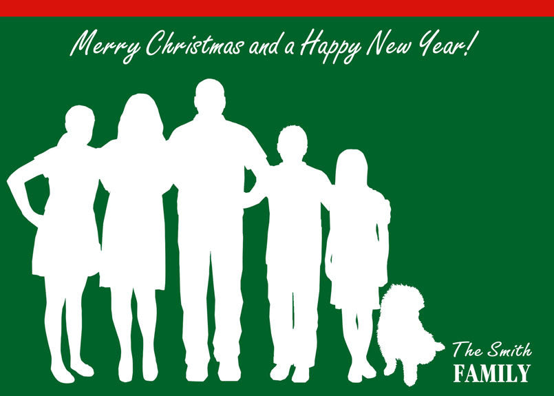 Christmas Cards Custom Silhouette made from YOUR Photograph - Holiday Card for your Family, New Year Card - DIGITAL PRINTABLE JPEG