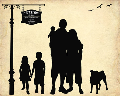 Custom Silhouette From Your Photo - DIGITAL PRINTABLE JPEG - Personalized Family Silhouette