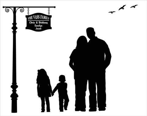 Custom Silhouette From Your Photo - Family Silhouette 8x10 or 11x14 - DIGITAL PRINTABLE JPEG