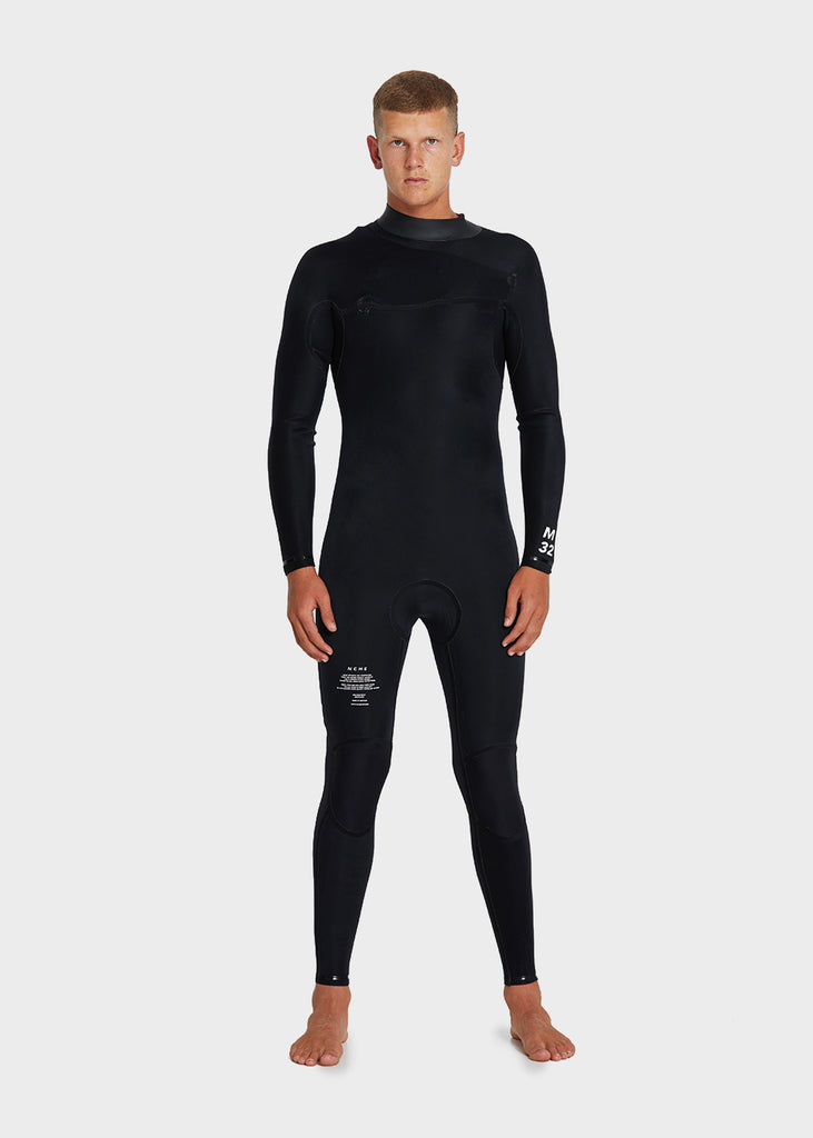 Mens Full Suit Zipperless Black NEOPRENE 3/2MM NCHE internal