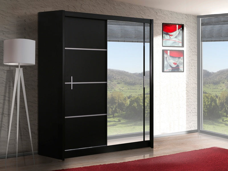 VISTA Wardrobe 180cm Black/Mirror