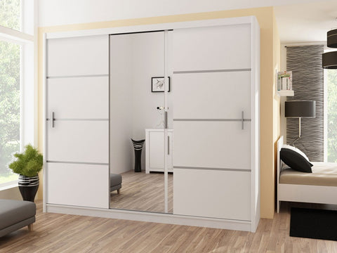 Vista Wardrobe 250cm White/Mirror