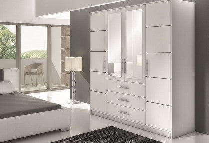 Classic wardrobe with 3 drawers BALI D4-white-196cm wide