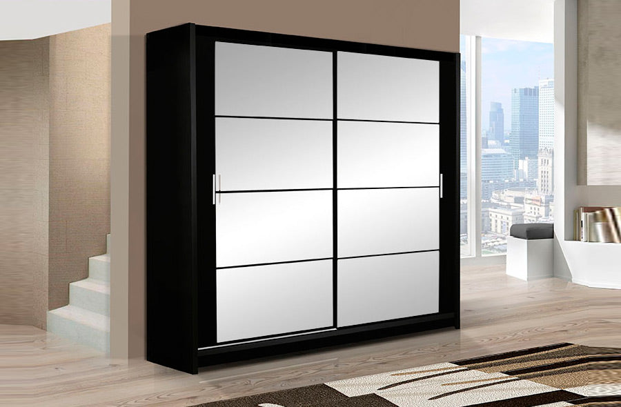 DAKOTA wardrobe 160cm Black/Mirror