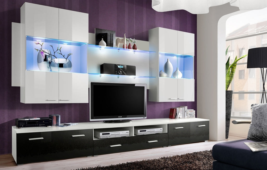 Space IV 4 Pieces Set TV unit black, hanging units white
