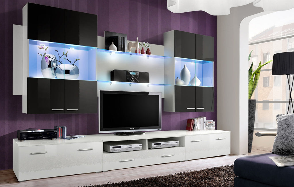 Space V 4 Pieces Set TV unit white, hanging units black