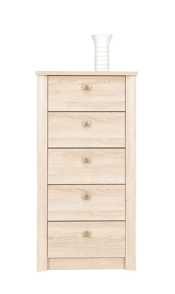 Finesse Chest of 5 drawers - narrow - Sonoma Oak