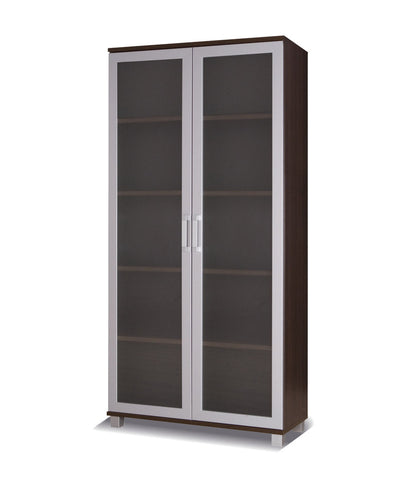 Maximus-2 glass door cabinet-chestnut wenge