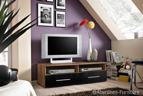 TV unit  Bern in plum & black gloss