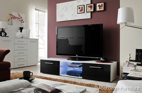 TV unit Bonn III in white & black