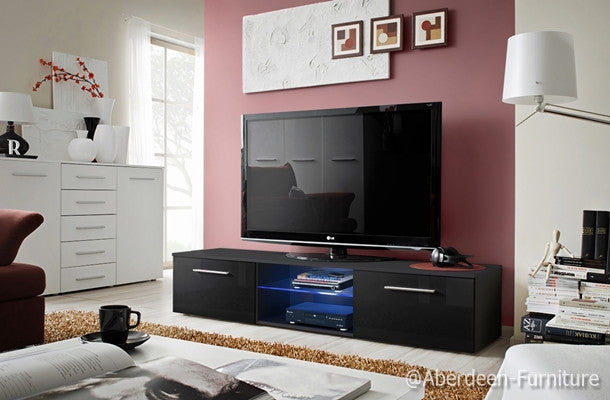 Tv unit Bonn III in black & LED lighting