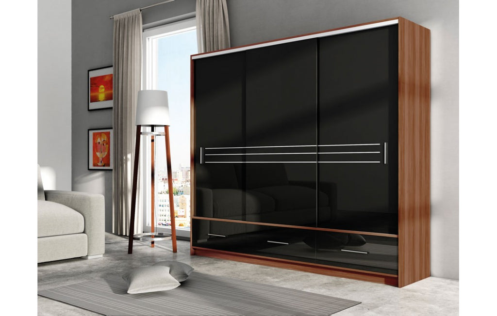 Amsterdam Wardrobe 255cm Plum/Black Gloss