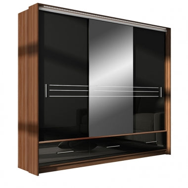 Amsterdam Wardrobe 255cm Plum/Black Gloss/Mirror