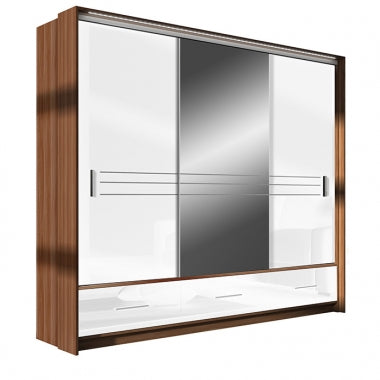 Amsterdam Wardrobe 250cm Plum/White Gloss/Mirror