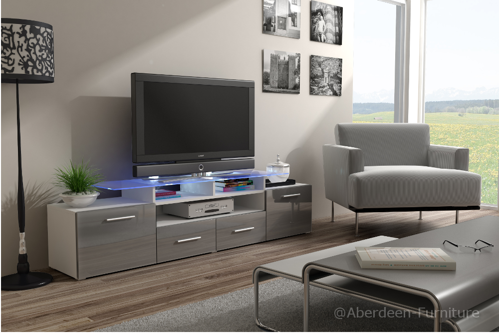 Modern TV Cabinet Max in grey gloss fronts