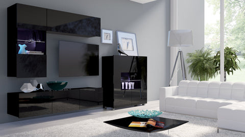 Calabrini Living Room Set - III Black Gloss