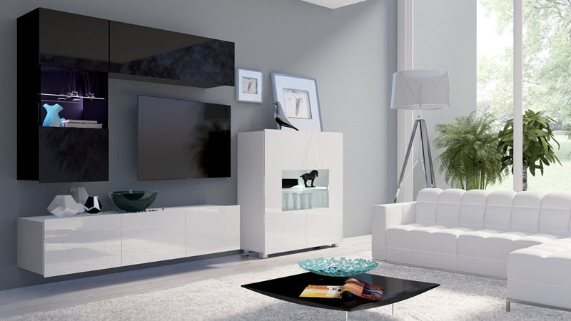 Calabrini Living Room Set - III White and Black Gloss