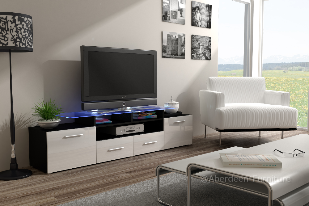 Modern TV Cabinet Max in white gloss fronts