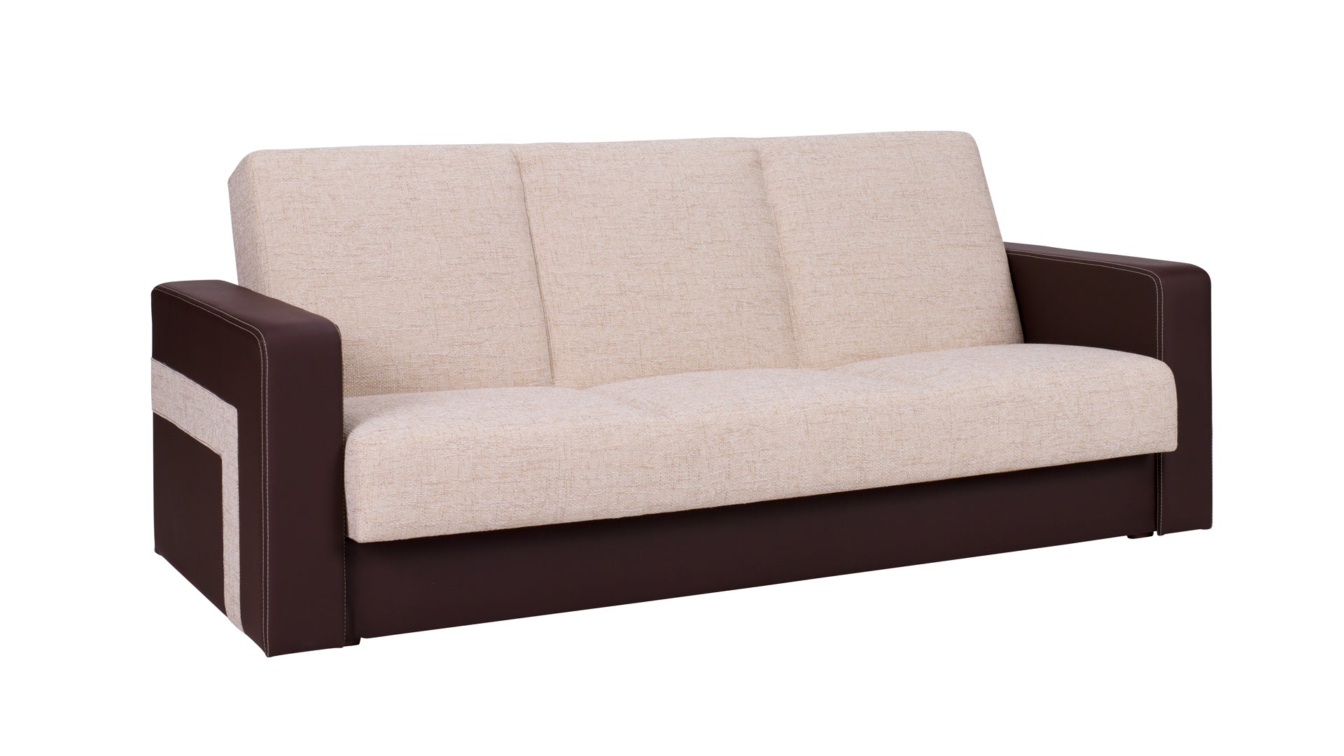 Brown sofa bed and pouffe